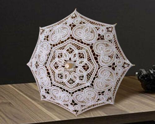 """10.75"""" Mini Decorative White Lace Parasol, Battenburg Lace Umbrella"""