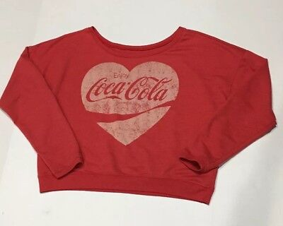 Enjoy COCA COLA  Womens Red Heart Sweatshirt Boat Neck Sweater Size Medium