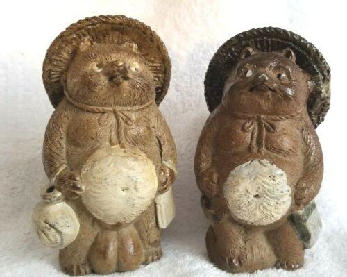 Two SHIGARAKI TANUKI Raccoon Dog Figures Antique Japanese Signed Pottery Japan