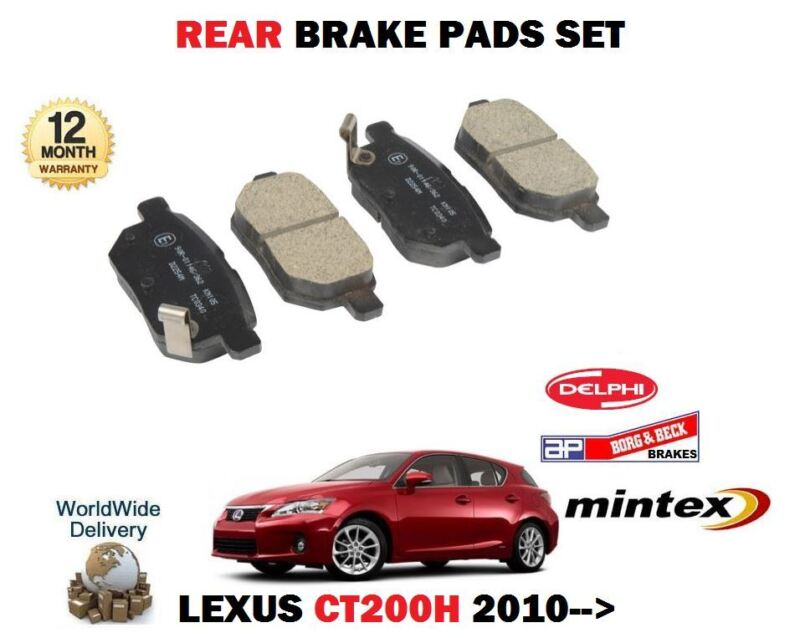 FOR LEXUS CT200H 1.8 HYBRID 2010-> NEW REAR AXLE BRAKE DISC PADS SET