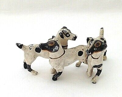 Antique miniature painted lead group of dog dogs terrier Jack russell doll house