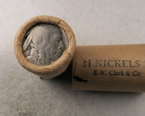 (1) Old Sealed Buffalo Nickel Half Roll // 20 Coins // E.W. Clark & Co.**SALE!**