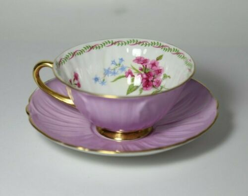 Shelley Oleander Mauve / Lavender Tea Cup & Saucer with Gold Handle