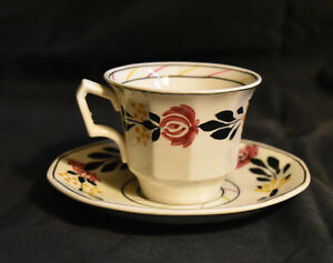 George Jones & Sons Small Tea Cup & Saucer Crescent Ivory Vintage