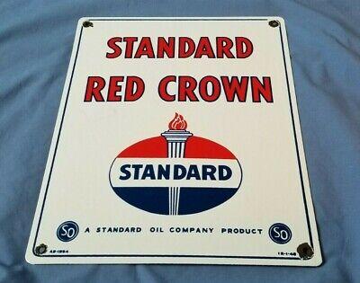 """""""VINTAGE"""" STANDARD RED CROWN GASOLINE 15"""" x 12"""" PORCELAIN METAL GAS & OIL SIGN!!"""