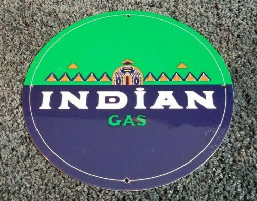 VINTAGE INDIAN GASOLINE & MOTOR OIL PORCELAIN PUMP PLATE SERVICE STATION SIGN