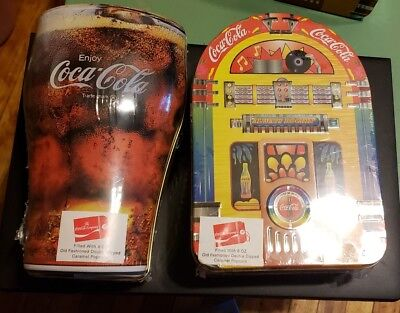 Coca Cola 1998 Tin Containers Rockin Juke Box and Bell Shaped Glass New