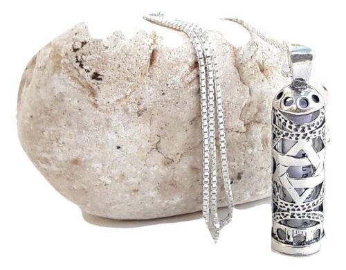 Sterling Silver 925 Mezuzah Pendant & necklace.W-Magen David Judaica Made israel