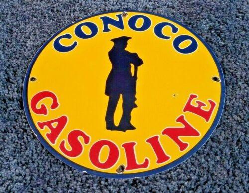 VINTAGE CONOCO GASOLINE PORCELAIN GAS SERVICE STATION PUMP PLATE AD SIGN