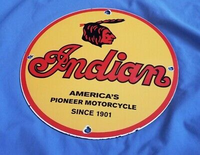 VINTAGE INDIAN MOTORCYCLE PORCELAIN GAS & OIL SERVICE AMERICAN CHIEF SIGN