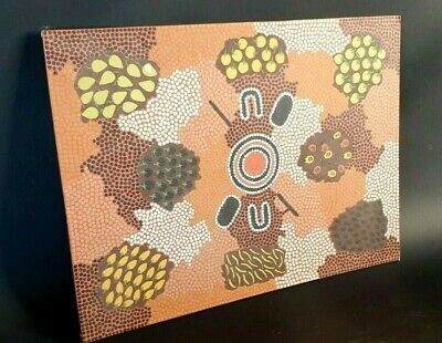 Old Australian Aboriginal Tribal Dot Painting …beautiful collection & display pi
