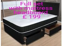 New Faux Leather Double Divan Bed With 4 Drawers,orthapedic mattress & Headboard £199 New Double bed