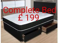 New double divan bed with headboard, mattress & 4 drawer base £199 new double bed set £199