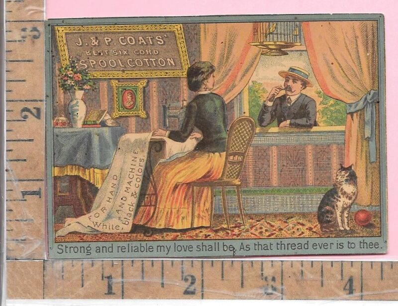 "J & P COATS THREAD SEWING MACHINE ""IN THE WORK-ROOM"" CAT  VICT ADV TRADE CARDS"