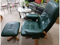 Reclining Leather Relaxer Chair and foot stool (armchair)