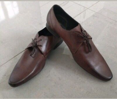 Men's New H By Hudson Brown Leather Shoes Size UK 10 EU 44 RRP £90