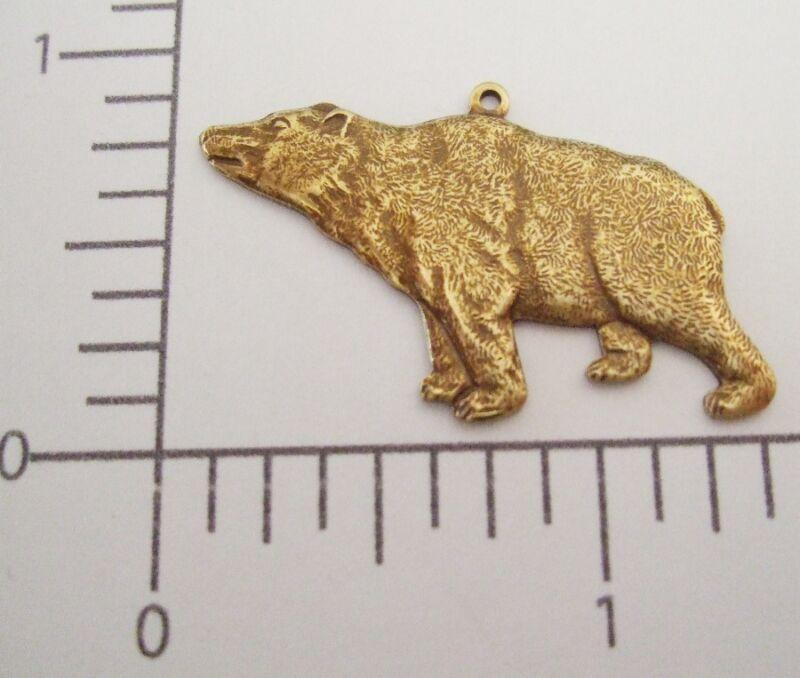 43603          Brass Oxidized Grizzly Bear Charm Jewelry Finding