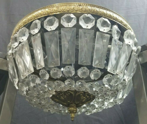 VINTAGE FLUSH CEILING MOUNT 3 BULB CRYSTAL CHANDELIER LIGHT FIXTURE ITALY