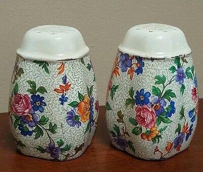 Vintage Large Ceramic Floral Salt & Pepper Shakers From Germany