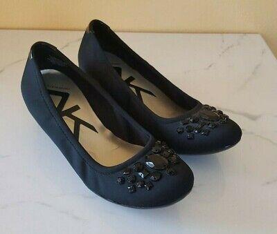 ANNE KLEIN Sport Women's Jewel Embellished Fabric Wedge Pump Slip Black, SzUS 6