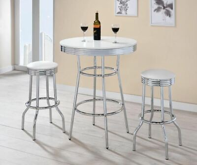 Retro Soda Fountain Bar Table and Bar Stool Set in White and Chrome
