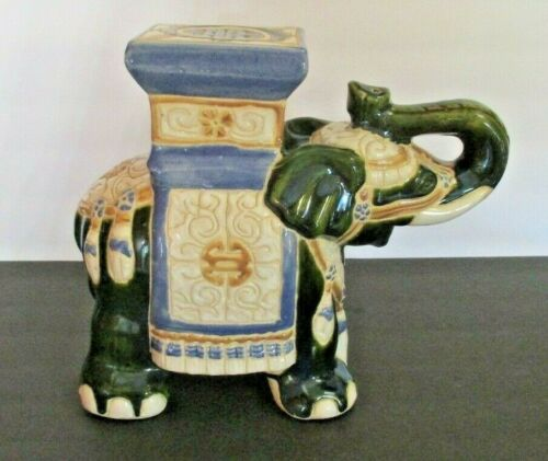 "Vintage Asian Ceramic Elephant Plant Stand- 11"" Tall"