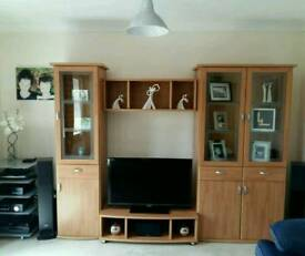 Living Room Wall Unit - Beech Block - Good Condition