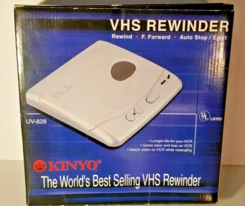 Kinyo Model UV-828 Black Vintage 2 Way VHS Video Cassette Rewinder