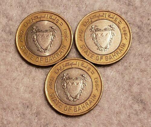 (3) 1992 Bahrain 100 Fils coins