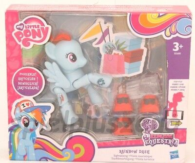 My Little Pony Bewegliches Pony blau Rainbow Dash Stadtbesichtigung Hasbro NEU