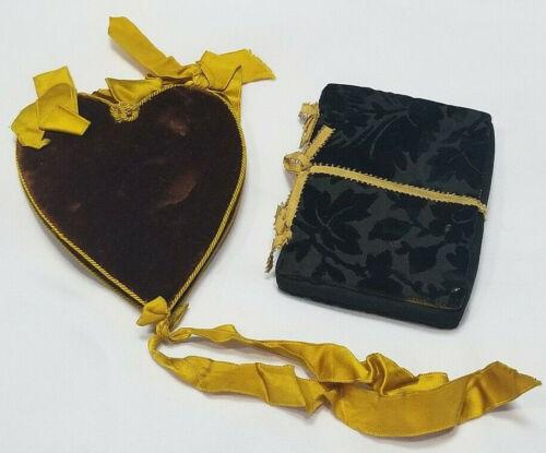 1897 ANTIQUE NEEDLE HOLDER PIN BOOK FANCY VELVET SET OF 2