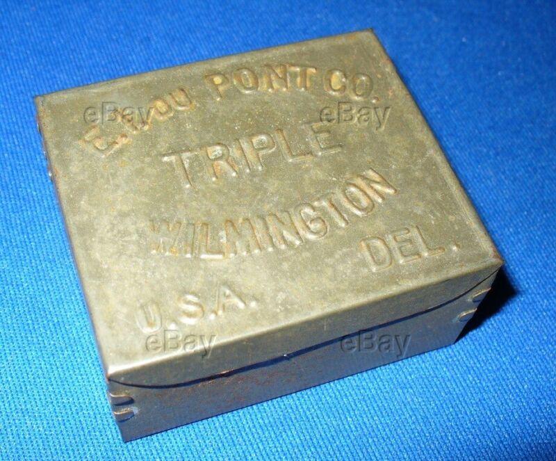 RARE ANTIQUE DUPONT TRIPLE BLASTING CAP TIN E.I. DU PONT WILMINGTON MINING MINE