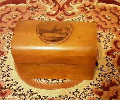 Vintage Mauchline Ware Lidded Chest - unidentified location