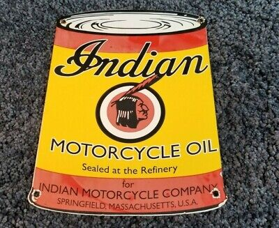 INDIAN MOTORCYCLE PORCELAIN GAS CHIEF SERVICE STATION PUMP VINTAGE STYLE AD SIGN