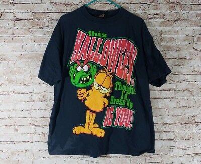 VTG Garfield XL Halloween Mask Dress Up You T-Shirt Tee Black Sun USA Davis - Halloween Davis Square