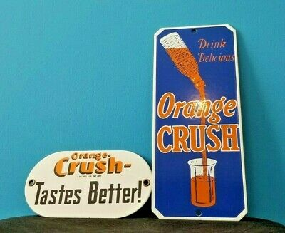 VINTAGE DRINK ORANGE CRUSH PORCELAIN GLASS BOTTLE GAS SODA DOOR PUSH TWO SIGNS!!