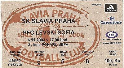 Ticket Slavia Praha VS Levski Sofia - 2003 - Coupe UEFA