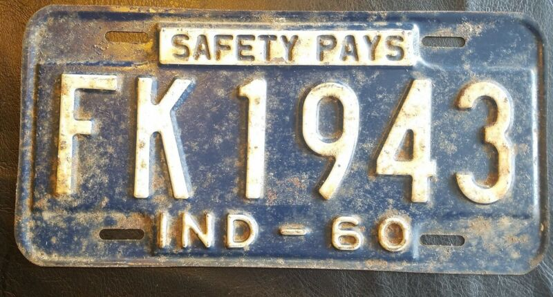 1960 Indiana License Plate Safety Pays