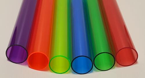 "6 COLORS 1 1/4"" OD x 1 1/8"" ID CLEAR ACRYLIC TUBE RED GREEN BLUE ORANGE PURPLE"