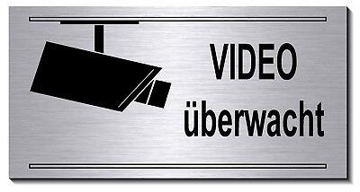 Video-Überwachung-Schild--20 x10 cm Aluminium-Edelstahl-Optik-Schild-Warnschild  20 X Video