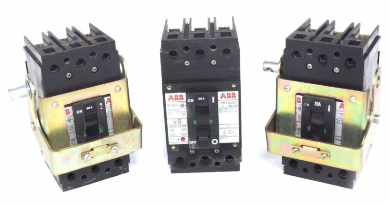 LOT OF 3 ABB UXAB-727131-R-103 CIRCUIT BREAKERS 20AMP 480VAC 500VDC TYPE ES