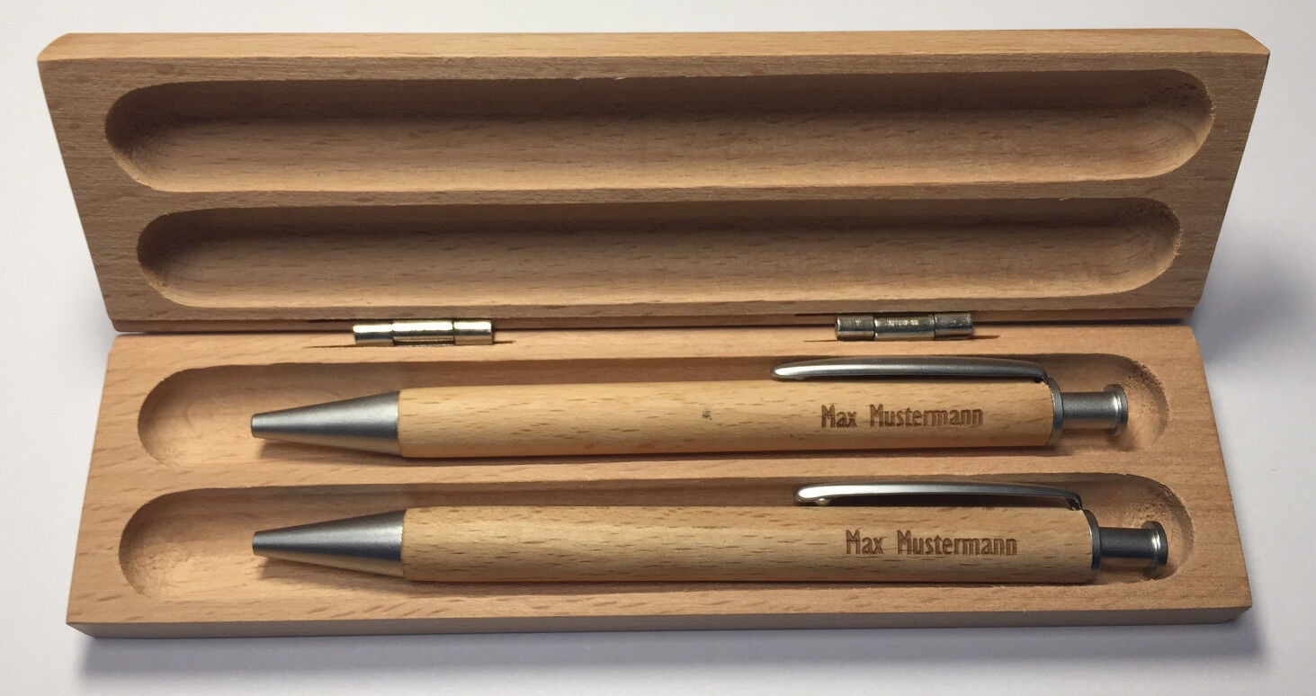 Holzkugelschreiber, Holz Schreibset mit Gravur, Werbeartikel, Bleistift