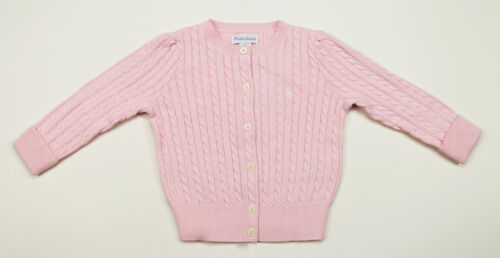 RALPH LAUREN NEW INFANT GIRLS COTTON PINK CABLE KNIT SWEATER CARDIGAN 24 MON