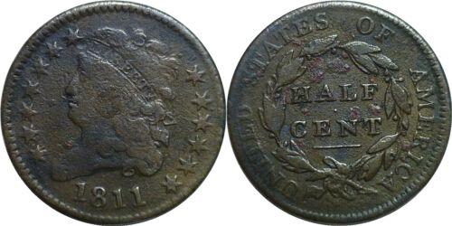 1811 1/2C Classic Head Half Cent Very Good Details Environmental Damage