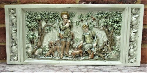 German or Austrian stove or fireplace faience tile with huntsmen and dogs, c1870