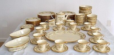 VINTAGE LENOX CASTLE GARDEN  99 PIECE SET DINNERWARE TEA COFFEE CUPS BOWLS
