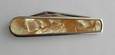Vintage COLONIAL Pocket Knife w/Blade & Bottle Opener~~Mother of Pearl-Like Case