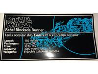 Star Wars Sticker for Lego® 10019 UCS Tantive IV transparent vinyl cmyk HQ