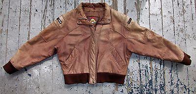 Vtg 80s Mens Adventure Bound Brown Leather Flight Bomber Distress Jacket Coat L