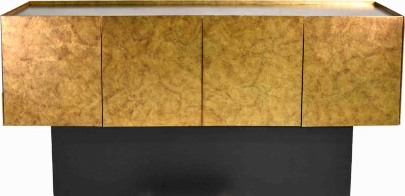 1980s Baughman Style 4 Door Gold Walnut Plinth Credenza